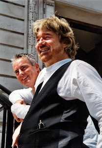 Willy Russell with Tim Firth (in background), photographed for the tour of 'In Other Words'. Photo: Paul Cary, 2004.